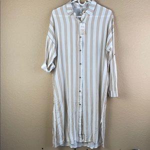 women's button down shirt dress/ beach cover up
